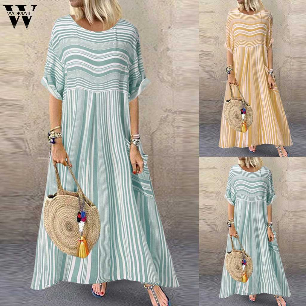 Womail summer dresses women Plus Size Fashion Casual Striped Short Sleeve O-Neck Ladies Pocket Dress Polyester Loose Dress Ju13