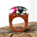 Wholesale Resin Wood Ring Handmade Jewelry Magical Wooden Rings Secret Clear Floret in Resin Wood Rings Women/Men Best Gift