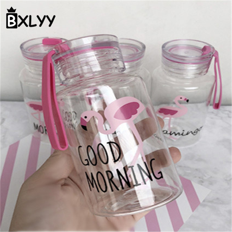 BXLYY 300ml Creative Flamingo Plastic Kettle Portable Sports Cute Handle Travel Board Water Bottle DIY Wedding Decor Gifts.8z
