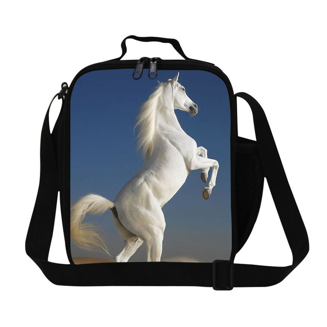 Cool boys plush horse lunch bags for school,kids cool lunch box,adults mens insulated food bags,stylish meal bag for work office
