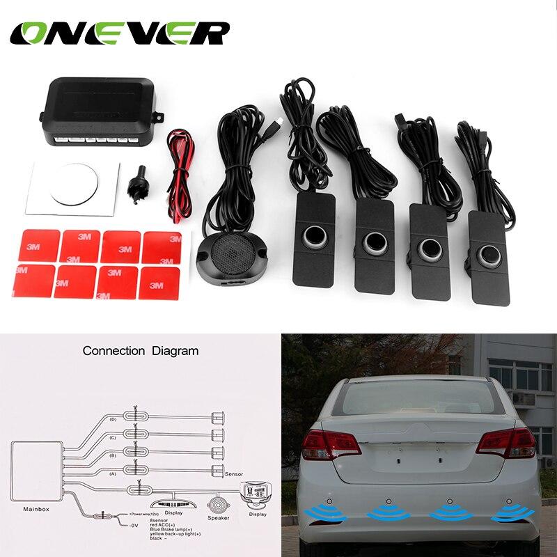 ONEVER автомобиля Сенсоры парковочные обратный резервный радар Системы с 4 шт. 16.5 мм черный плоский Сенсор радар звуковой сигнал Регулируемый звук