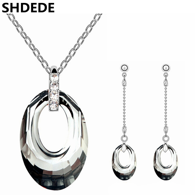 SHDEDE Vintage Fashion Accessories Crystal from Swarovski Long Dangle Earrings Necklace Wedding Jewelry Sets for Brides - floral slash neck vest