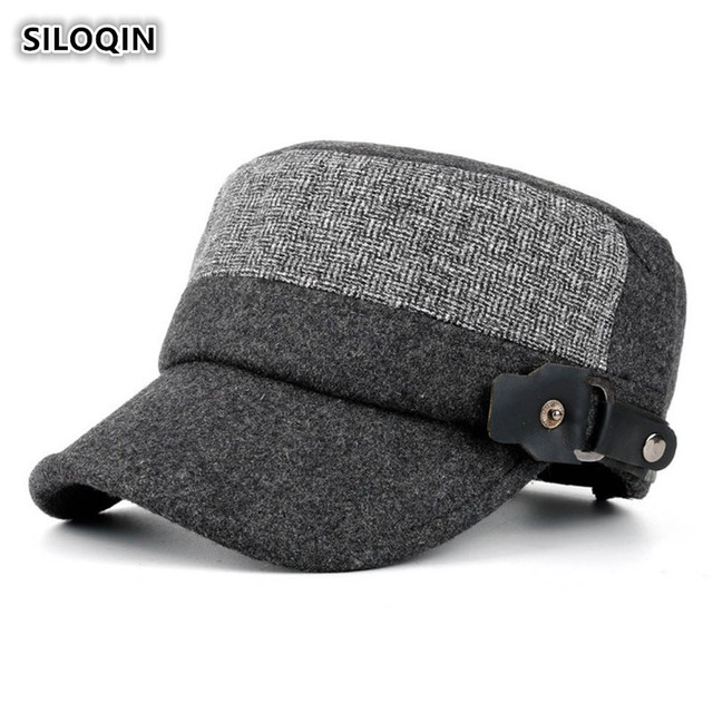 0faca929a0f SILOQIN NEW Adjustable Head Size Men s Army Military Hats Winter Thicker  Warm Flat Cap Snapback Brands Dad Hat Winter Caps