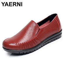YAERNI Large size EU 43 women loafers leather women flat shoes shallow mouth single shoes breathable mother shoes #B2174