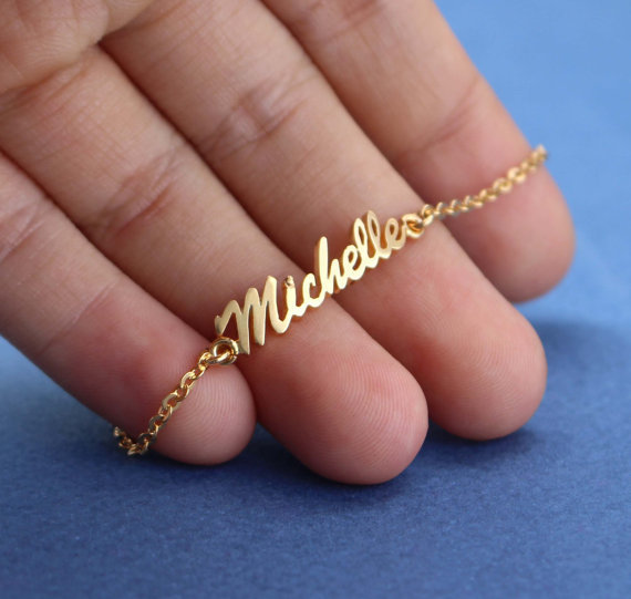 Name Bracelet Gold Plated Personalized Bangle
