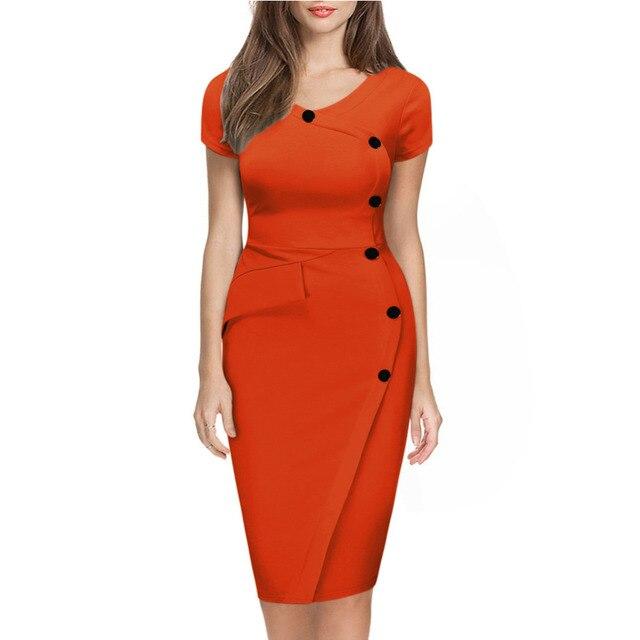 Женщины Плюс Размер Мода V-образным Вырезом С Коротким Рукавом Желтый Наряд с Кнопка Империи Талии Тонкий Карандаш Bodycon Синий Dress Vestido Azul