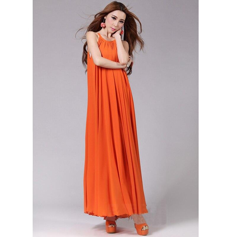 US $19.49 25% OFF Women Summer Chiffon Dress Orange Blue Black 6XL Plus  Size Sleeveless Long Halter Dress Bohemian Elegant Casual Beach Maxi  Dress-in ...