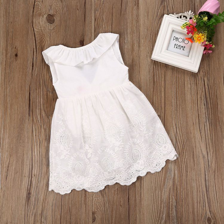 2017 Toddler Kids Baby Girls Lace Dress Princess Party Pageant Holiday Tutu White Bow O-Neck Sleeveless Dresses toddler kids baby girls princess dress party pageant wedding dresses with waistband
