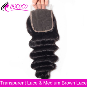 Mscoco HD Transparent Lace Closure Loose Deep More Wave 8- 24 inch Brazilian Human Hair Swiss Lace Top Closures With Baby Hair(China)