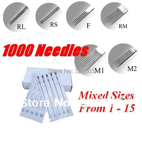 Lot Of 1000 Tattoo Needles Pre made Sterile Mixed Assorted Sizes Supply TNE 1000