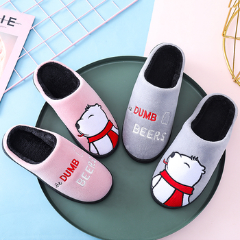 Cartoon Women Winter Home Slippers Cute Bear Non-slip Soft Winter Warm House Slippers Indoor Bedroom Lovers Couples Floor Shoes 2