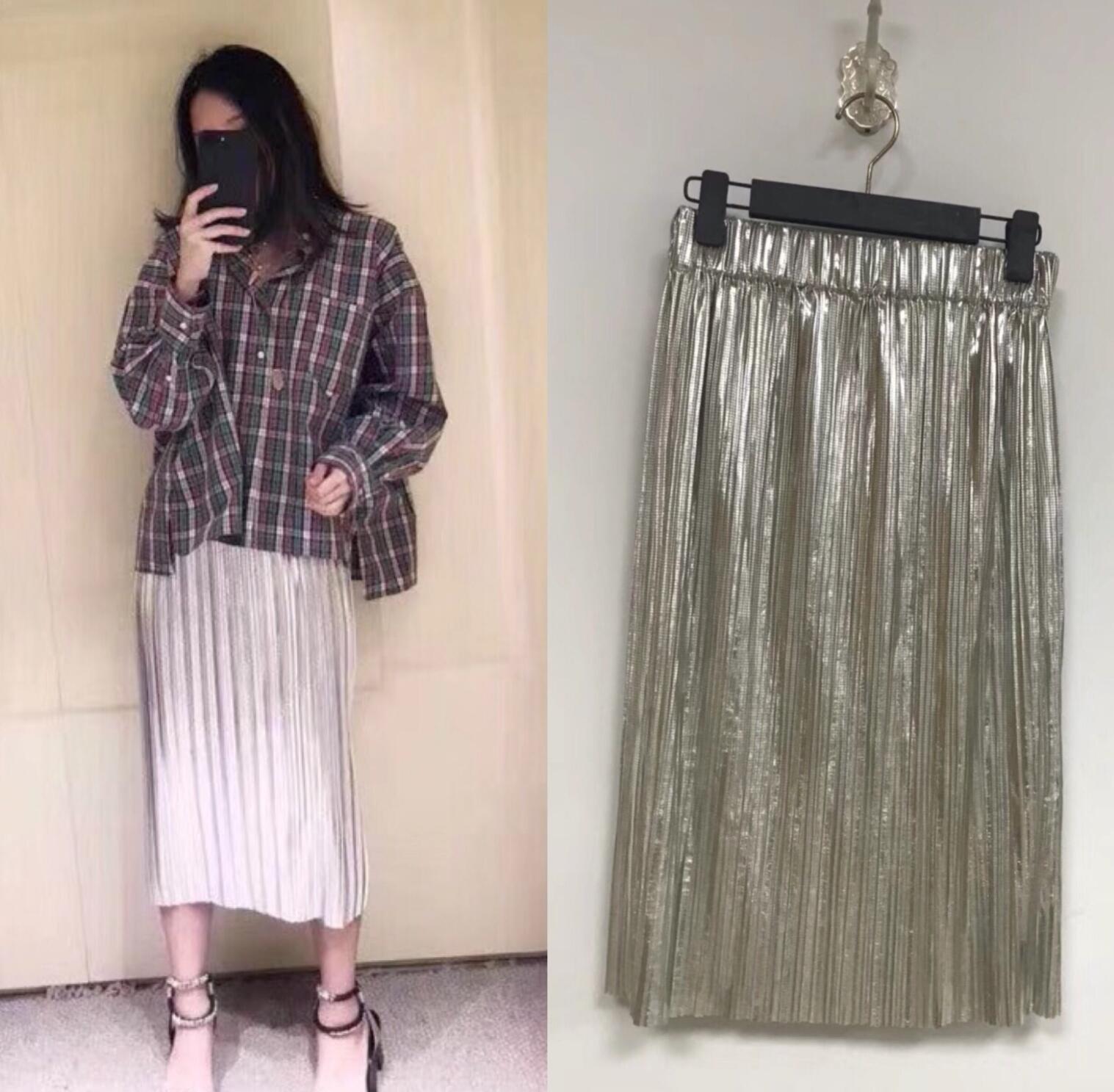 Pleated sequined organ mini skirt Pleated metallic skirt Elasticized waist