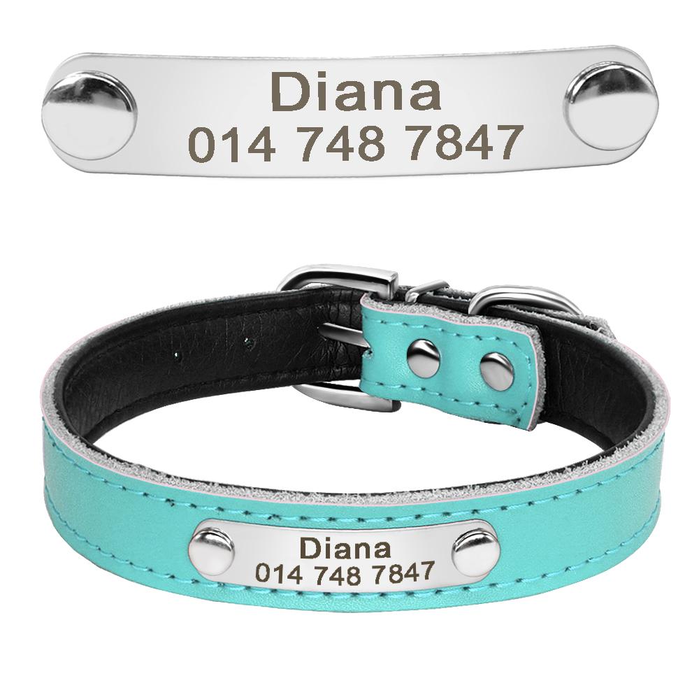 Collar de perro de cuero con relleno interior personalizado con placa de identificación grabada 9