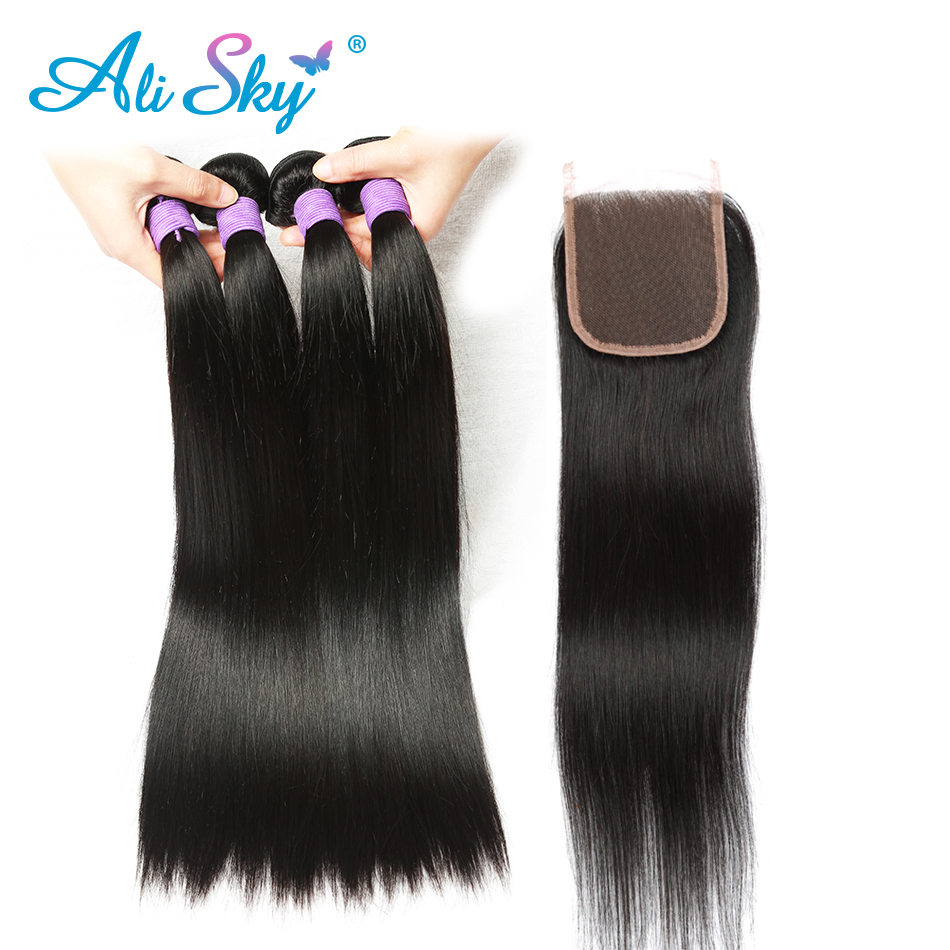 Peruvian Straight Hair 3 Bundles med 1 stk. Lace Closure 4x4 Free - Menneskehår (sort)