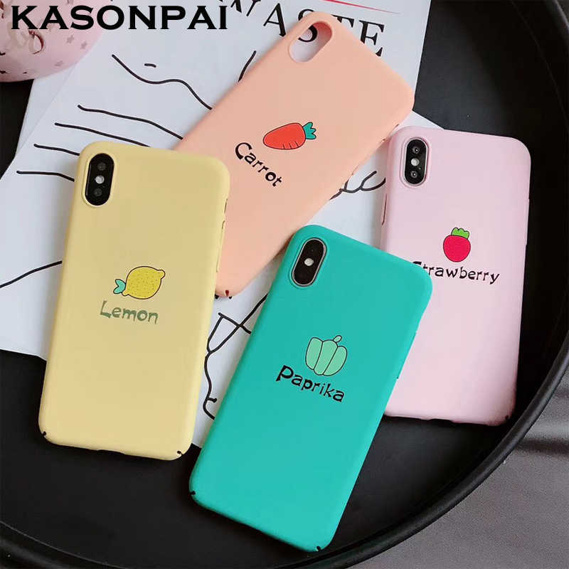 KASONPAI Cute Fruit Full Protect Case For iphone X Case For iphone 6 6S 7 8 Plus Phone Cases Candy Colors Hard Plastic Cover