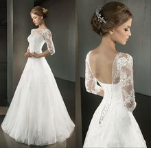 Hot Sale Half Sleeve A-line Wedding Dress Scoop Floor Length Applique Vestido De Noiva Lace-up NM 613