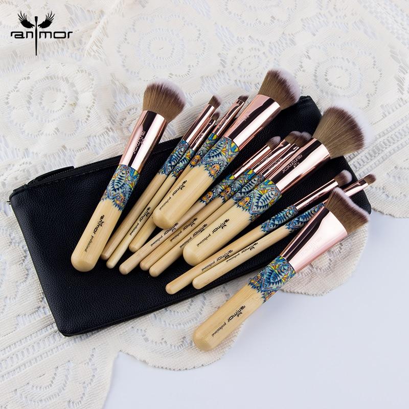 Anmor pinceles de maquillaje profesional polvo fibra Duo sombra de ojos maquillaje herramienta maquillaje sintético con la bolsa de negro
