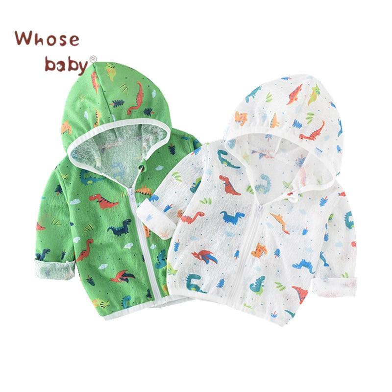 Детская куртка Верхняя одежда для мальчиков; пальто милый динозавр летнее солнце защитный Детское пальто Модная ветровка детская одежда Ко...