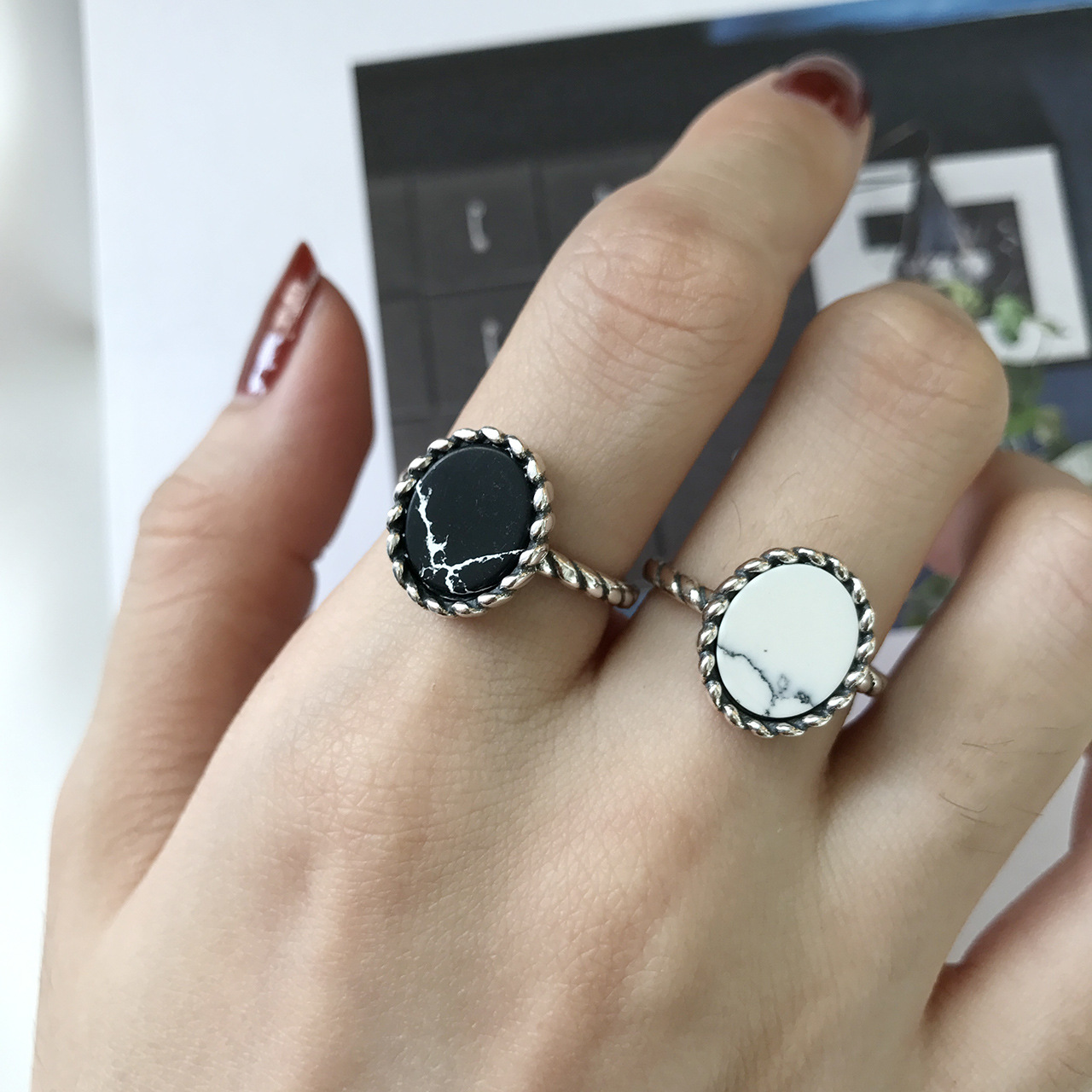 S925 Sterling Silver Ring Marbling Black and White Pine Stone Large Cake Ring Do Old Personality Korean Opening Element Silver(China)