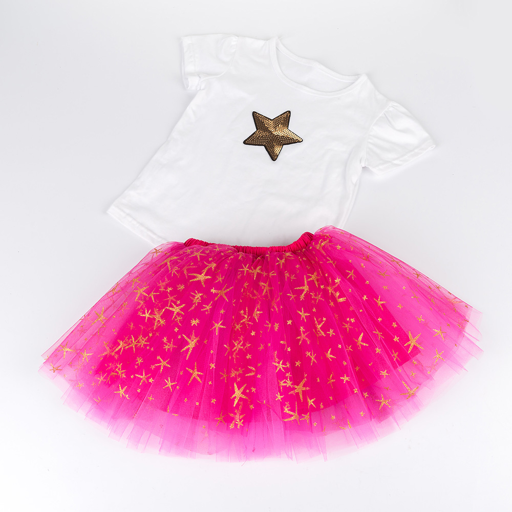 Two pieces Children Summer GIrls Set Shorts Heart Star T-shirt Tops Stars Tutu Skirts For 2-10 11 12 Years Kids Outfits two pieces kid girl clothing set flower t shirt tutu skirt children summer set for 2 12 girls outfits party prom