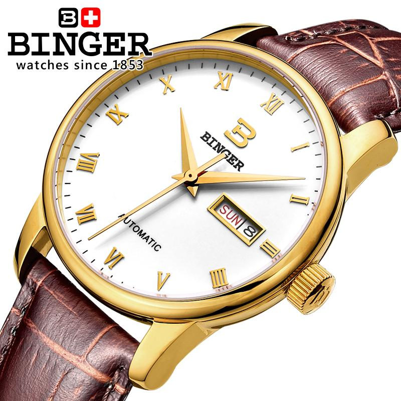 Switzerland men's watch luxury brand Wristwatches BINGER business Automatic self-wind leather strap Water Resistance BG-0397-5 ultra luxury 2 3 5 modes german motor watch winder white color wooden black pu leater inside automatic watch winder