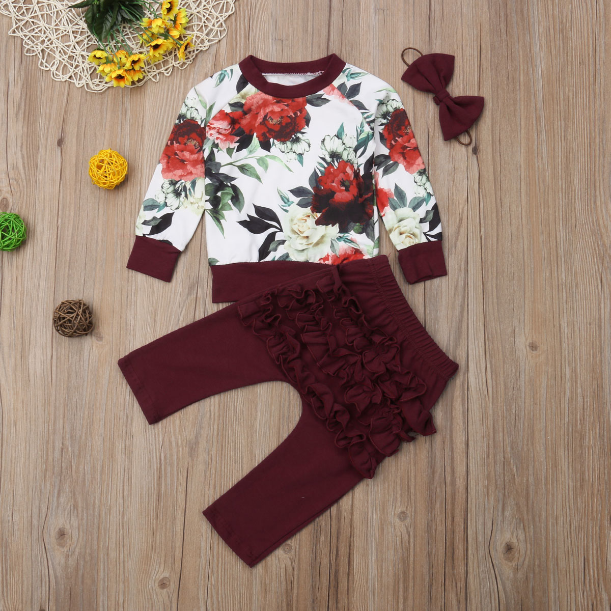<font><b>Autumn</b></font> Winter Toddler <font><b>Newborn</b></font> <font><b>Baby</b></font> <font><b>Girl</b></font> <font><b>Clothes</b></font> Set Outfits Long Sleeve Printed T Shirt and Ruffle Pants 3Pcs Set <font><b>Baby</b></font> Clothing image