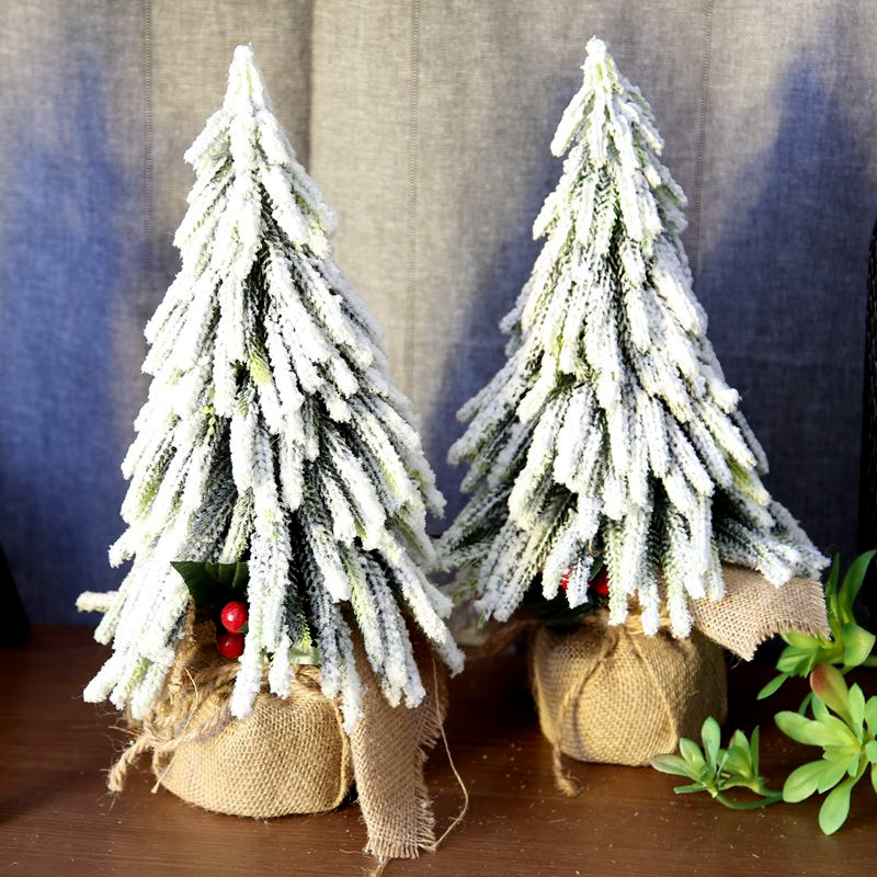 33cm Mini snow Christmas Tree Artificial Christmas Trees Tabletop Tree Assorted Pine Trees Christmas Xmas Decoration For Home in Artificial Dried Flowers from Home Garden