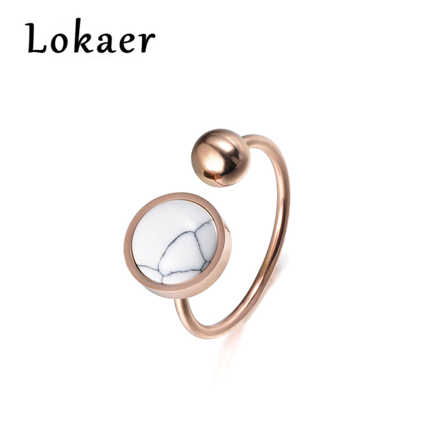 Lokaer Trendy Jewelry Ring Round Shape White Magnesite Rose Gold Color Titanium