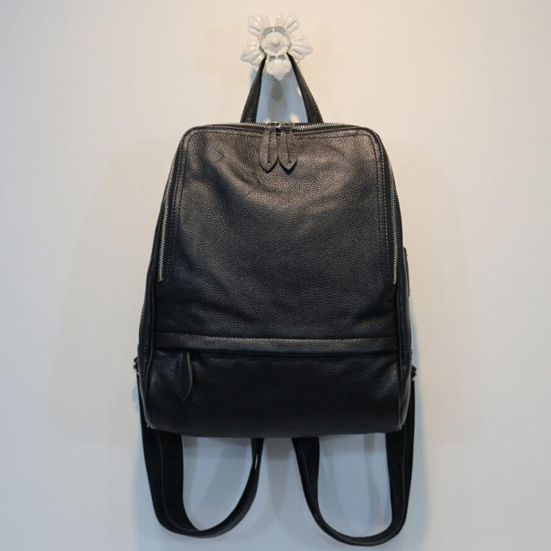 Nouveauté Noir Dos À Supérieure Coréen ''pouces Double Dames Qualité Cuir Bagpack 14 Véritable Bandoulière Sac Style Portable Souple Pour Femmes Ordinateur BwRrBq