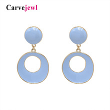 Carvejewl color rich earrings triangle round hand painted enamel glace earrings for women jewelry new fashion Korean earrings cloisonne hand painted enamel color european