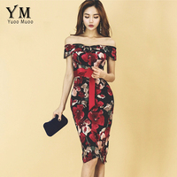YuooMuoo Sexy Off The Shoulder Knee Length Party Dress Women Rose Print Floral Dress Vestidos Summer