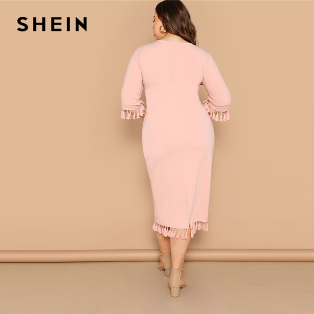 SHEIN Women Plus Size Scarf Print Buttoned Cuff Black Long Dress 2019 Ladies Spring Half Sleeve Solid Casual Dresses 1