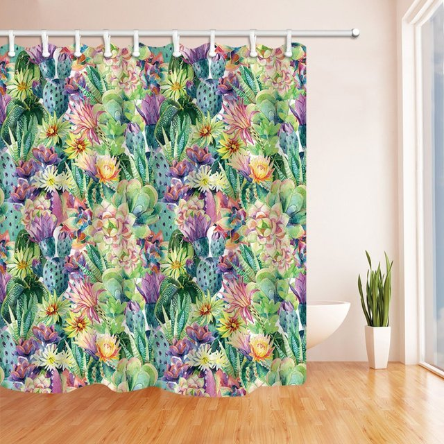Succulent Plants And Cactus Shower Curtain Waterproof Polyester Fabric Bathroom Fantastic Decorations Bath Curtains