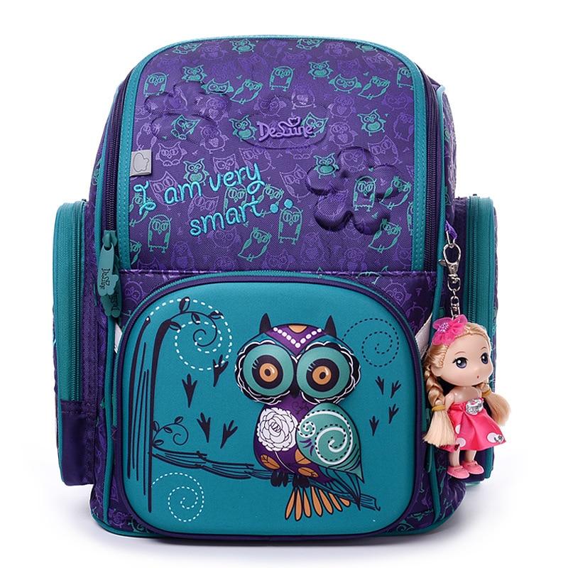 Delune Orthopedic Backpack For Girls School Bags 3D Cute Owl Bear Flower Pattern Waterproof Children Schoolbag Mochila Infantil unme children schoolbag for grade 1 3 girls backpack waterproof leather light for boy