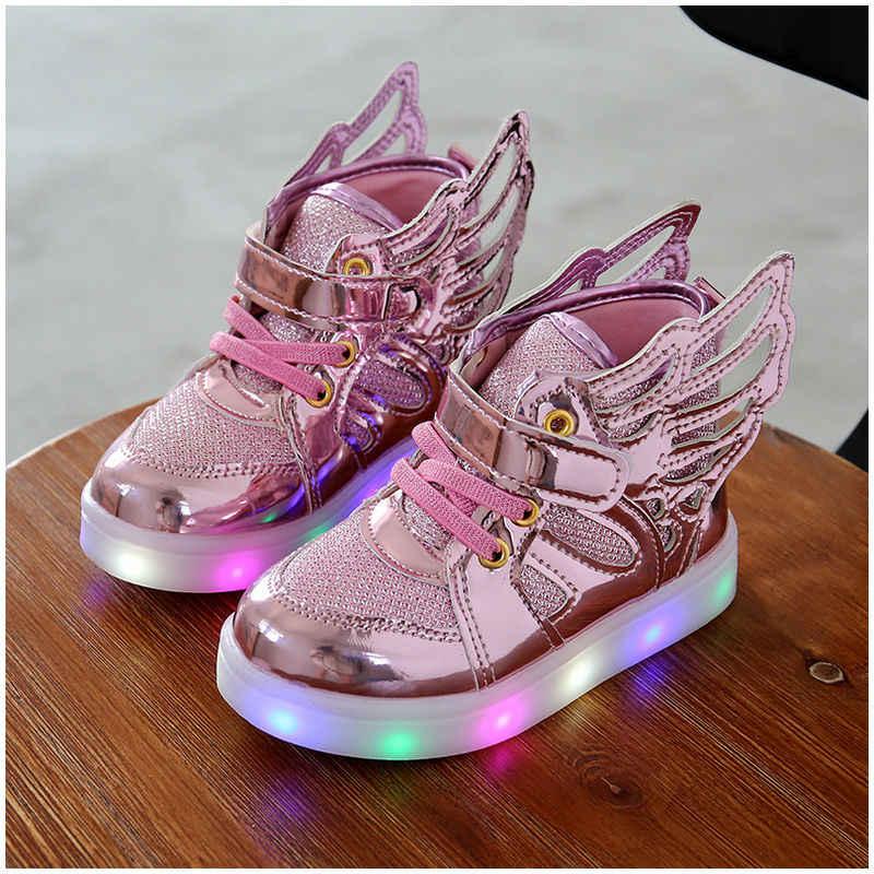 Luminous รองเท้าผ้าใบเด็กรองเท้าเด็ก Led รองเท้าเด็กกีฬากระพริบไฟเรืองแสง Glitter Casual ปีกเด็กรองเท้าแบน