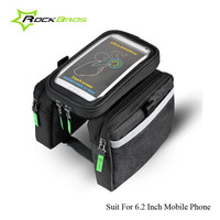 Rockbros Bicycle Bags Bike Accessories Frame Front Tube Bag Waterproof Panniers Bicycle Phone Touch Screen Bag
