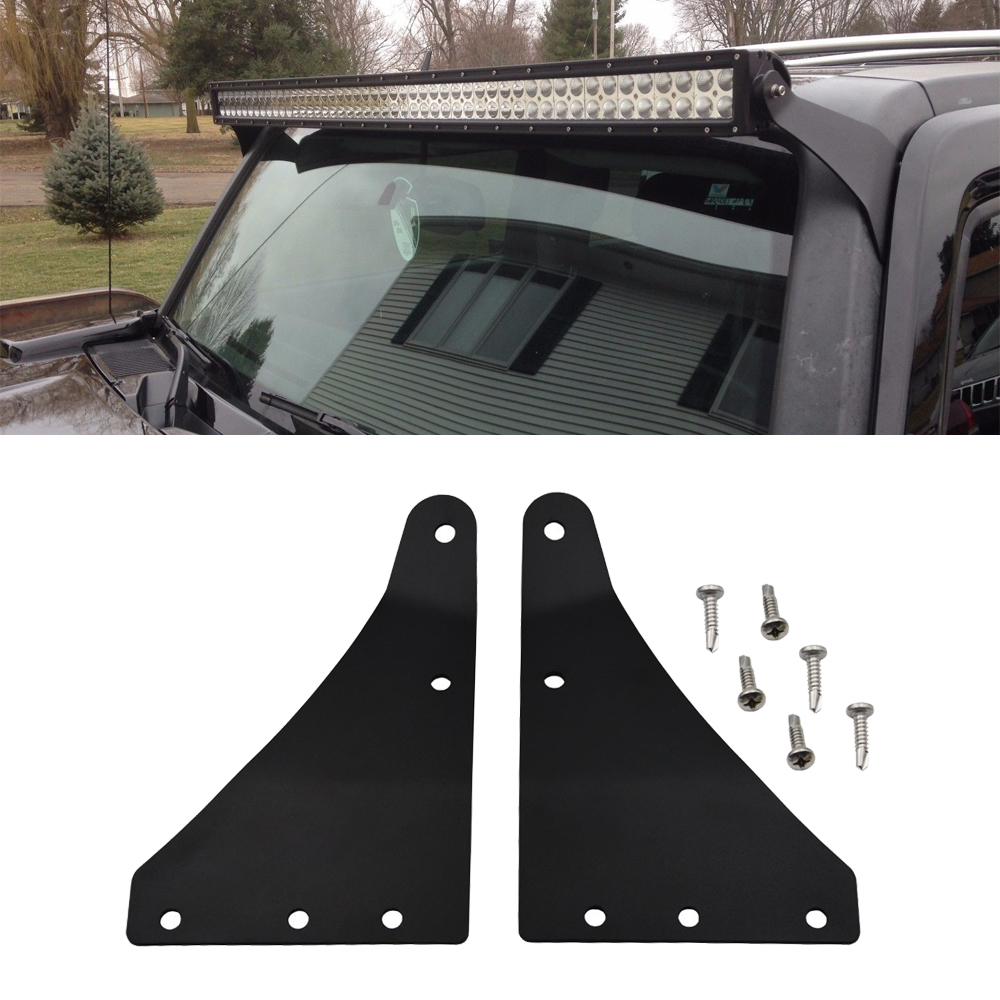 Upper Windshield 50 Inches Curved Or Straight LED Light Bar Mount Brackets Fits Hummer H3 (2006-2010) H3T (2009-2010)
