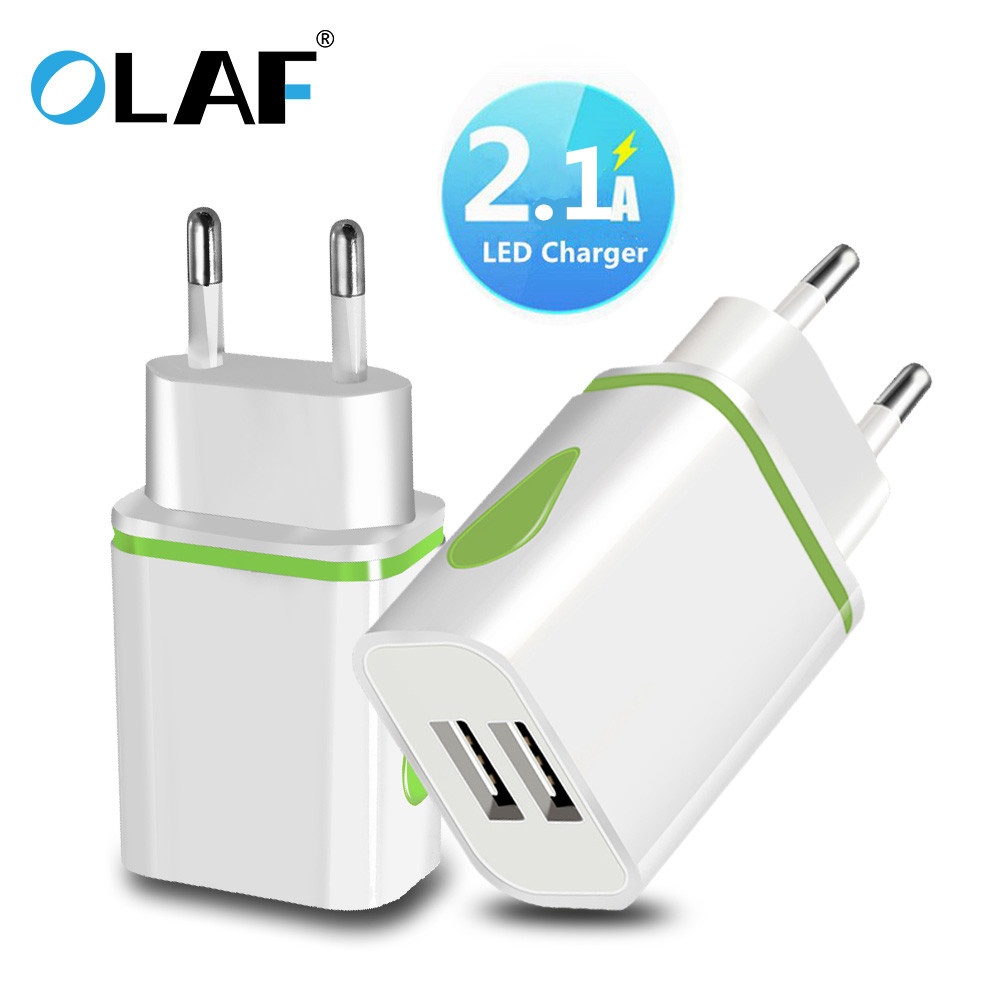OLAF USB Charger Dual 2 Port EU 5V 2A Travel Wall Adapter LED Light Mobile Phone Usb Charger For Iphone Samsung Xiaomi Huawei LG