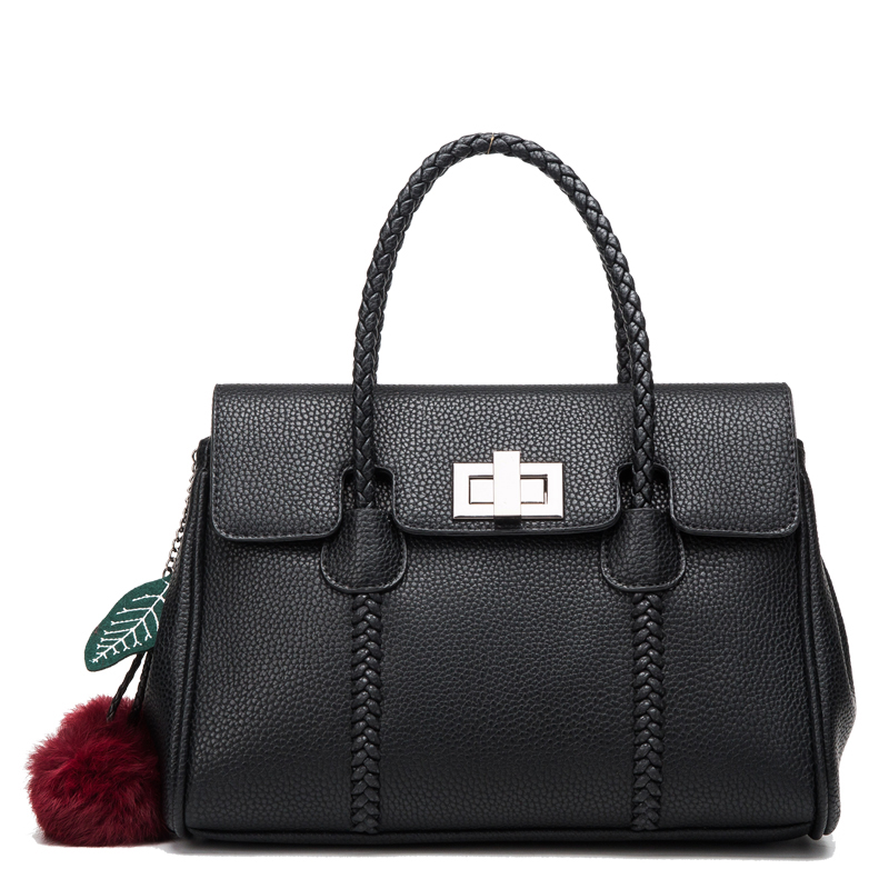 New arrived 2017 Women Bag Famous Brand Handbags Genuine Leather Shoulder Bags Black Zipper & Hasp Boston Tote Bags HD651118 new genuine leather bags for women famous brand boston messenger bags handbags tassel tote hand bag woman shoulder big bag bolso