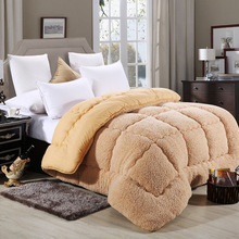 1PCS Thick Warm Winter Quilt Lambswool Solid Comforter White Brown Lamb Cashmere Bed Cover Quilting Quilt Home Textiles