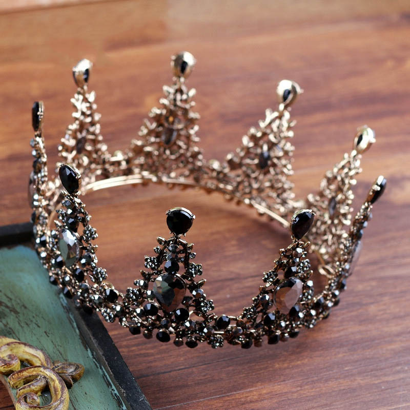 Vintage Baroque Round Tiara Crown Black Rhinestone Headdress Ornament for Wedding Bridal Headpiece Hair Jewelry Costume Headwear black and coffee 2 colors hair tiara ancient chinese emperor or prince costume hair crown piece cosplay use for kids little boy