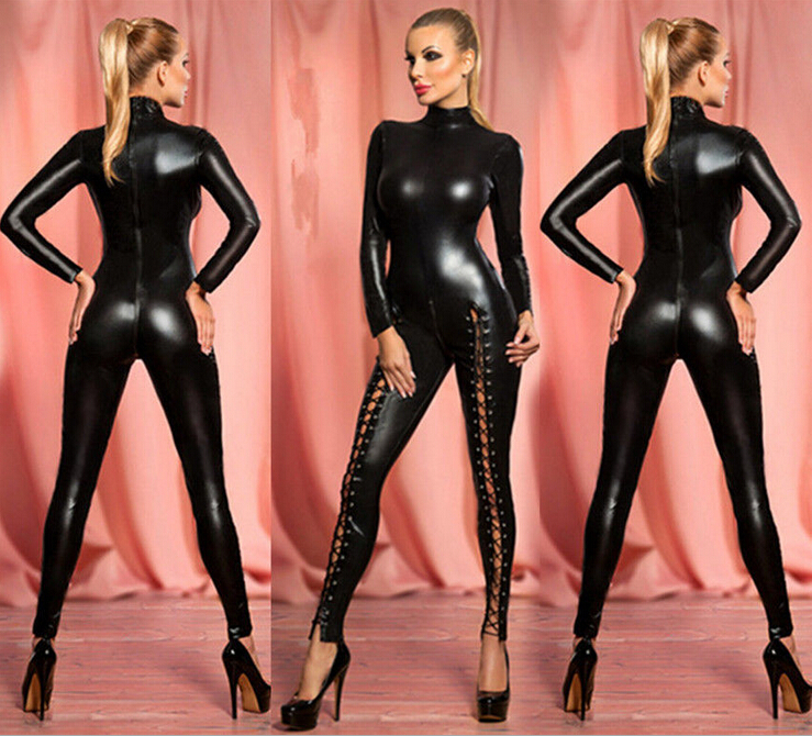 Buy Hot Sexy Faux Leather Women Catsuit Long-sleeve Jumpsuit Bodysuit Erotic Lingerie Cosplay Catwoman Costumes Uniform