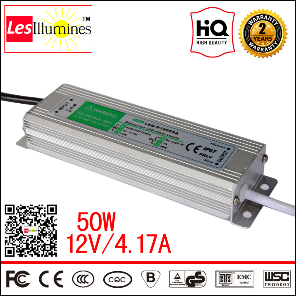 Waterproof AC DC 110V 220V DC12V LED Driver Transformer IP67 CE ROHS Approval 12V 4A 50W Switching Power Supply Outdoor Use high quality waterproof led driver transformer ce rohs approval ac90 265v to dc20 36v 4500ma 150w led highbay light power supply