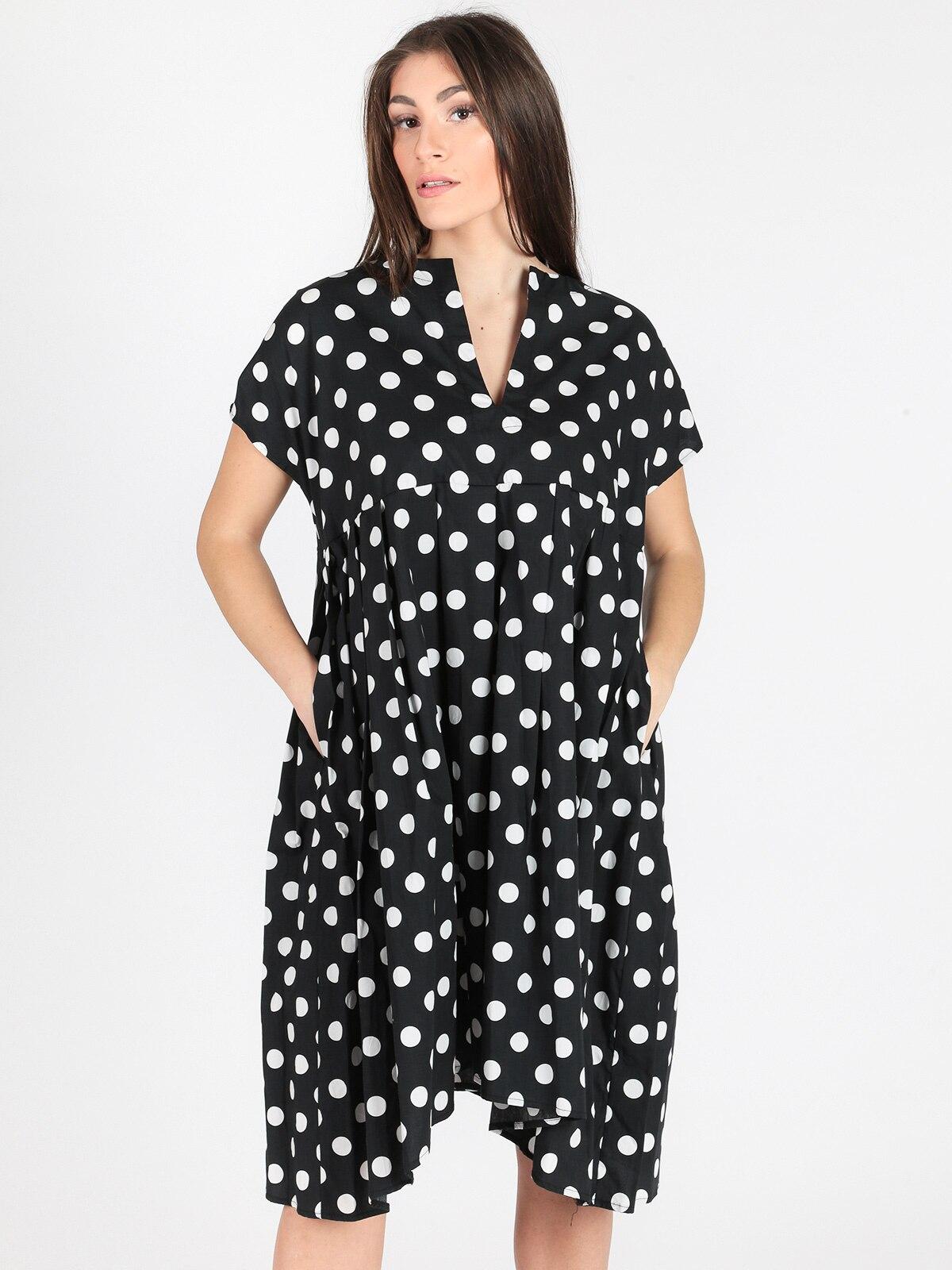 Robe en coton à pois noir