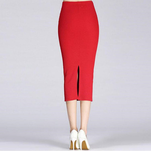 Image 2 - 1Pc Solid Pencil Skirt Knitted Stretch Elastic Office Lady High Waist Womens Skirt Black Fashion Red Color Long Skirt Hot Sale