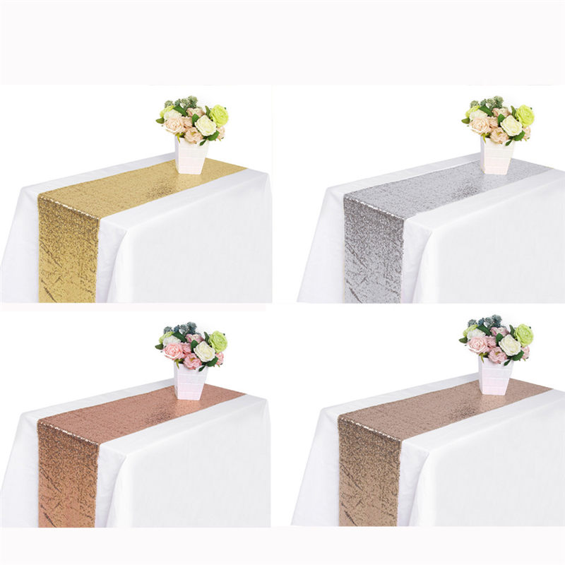 Sequin Satin Table Runner Glitter Tablecloth Bar Wedding Party Banquet Venue Diy Decoration Accessories Textiles30x275cm 30x180c