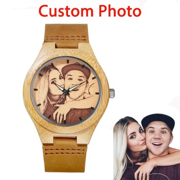 Custom Your Own Photo Watch Unique Bamboo Wood Leather Causal Quartz Men Watches