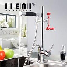 Ziehen Küche-hahn Chrom Poliert Deck Montieren Ein Loch/Griff Mischbatterie Wasserhähne Dual Griff JN92350