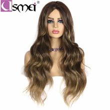 USMEI 130 Density Long Wavy Wigs with Natural Hairline Synthetic for Women Black Blonde Ombre Color Daily Life