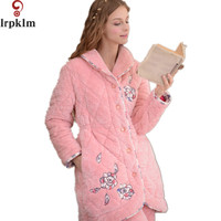Supper Soft Coral Fleec Pink Coat And Pant Homewear Pyjamas For Autumn Winter New Arrival Womens Winter Pajamas Sets SY370